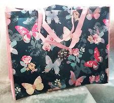 Stile Retrò ~ Grande Shopping Tote Bag Blu & Rosa Farfalla Design Nuovo