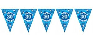 Age-30-30th-Birthday-Blue-Holographic-Flag-Bunting-Decoration-12ft-Long-New