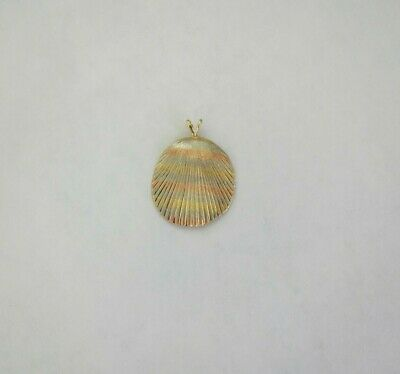 14k Yellow Gold Oyster Shell Pendant 24mm Length