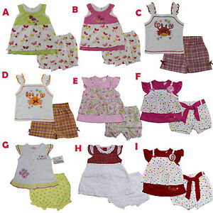 New Baby Girls Outfits Clothes 2 Pieces Shirt With Shorts Size 3 6 9 12 Months Ebay