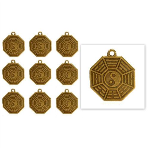 """LOT OF 10 YIN YANG FENG SHUI CHARMS 0.75/"""" Brass Pendant Bagua Good Luck Set Cure"""