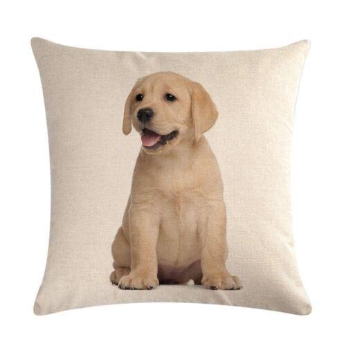 """18/"""" Cotton Linen Cushion Cover Dogs Sofa Waist Throw Pillow Case Decor"""
