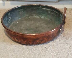 Antique Copper Cauldron stock Pot Bucket Copper Handle Jam Pot Large Planter