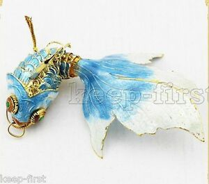Pretty-Sky-Blue-Vintage-Cloisonne-Enamel-Silver-Koi-Fish-Pendant-top-level