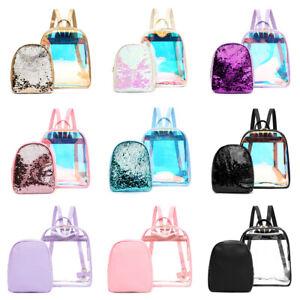 2pcs//set Women Backpack PVC Clear Sequins Girl School Shoulder Bags Tote Fashion