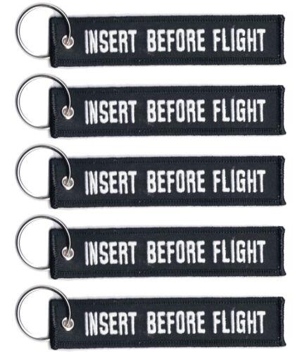 5 INSERT BEFORE FLIGHT LUGGAGE KEYCHAIN KEY RING PILOT CABIN CREW WHITE//BLACK