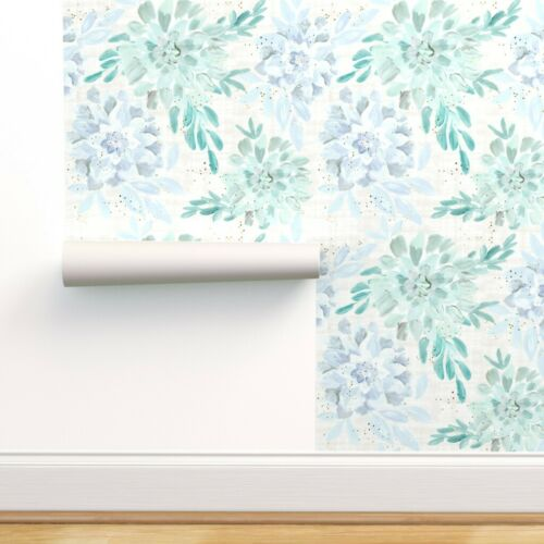 Removable Water-Activated Wallpaper Pastel Succulent Watercolor Plant Succulents