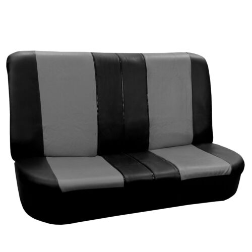 PU Leather Car Seat Cover Full Set For Auto Car SUV Truck Van Gray Black
