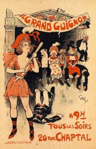 THEATRE DU GRAND GUIGNOL 1897 Vintage Theater Advertising Canvas Print 20x31