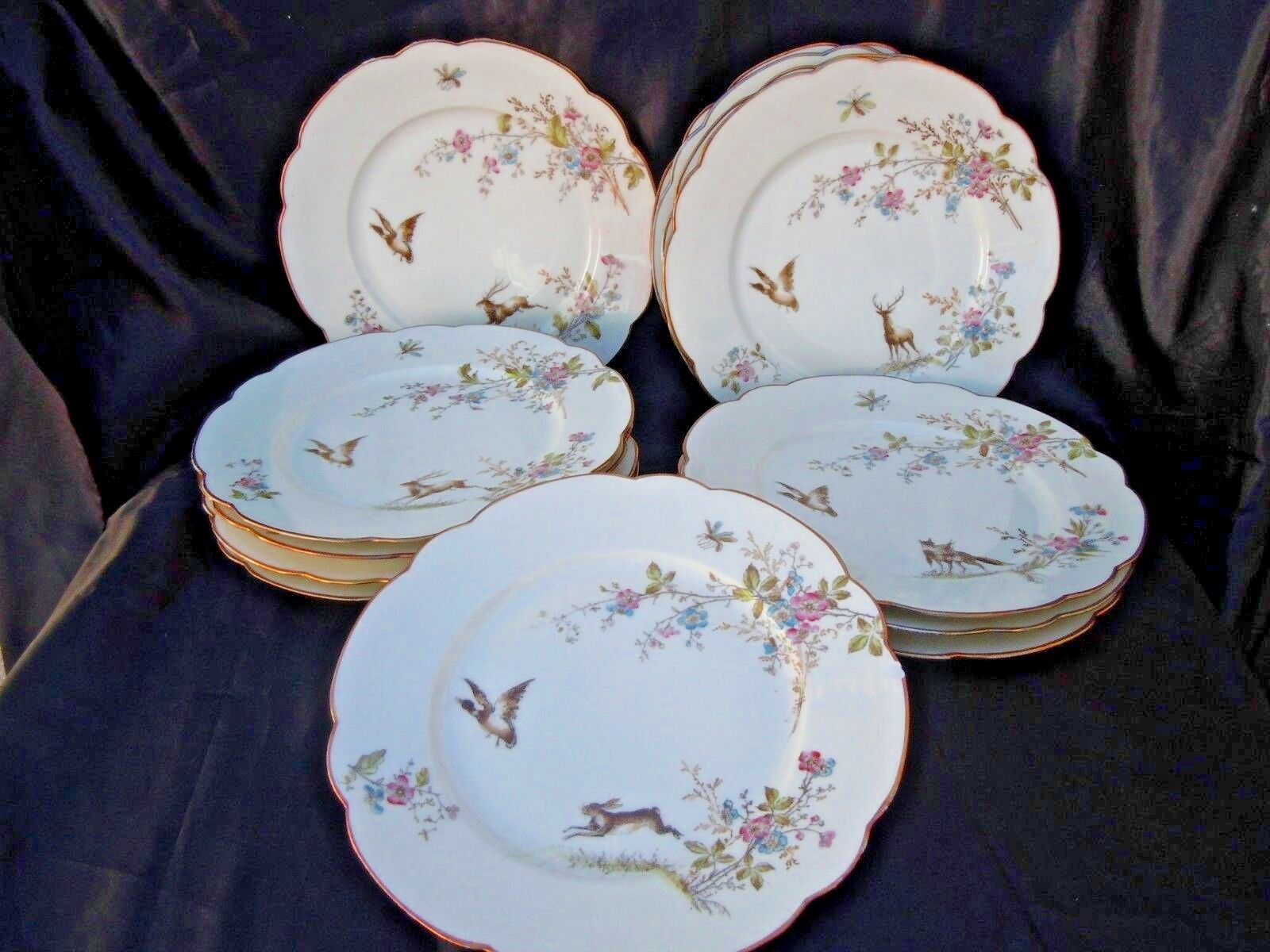 Assiettes porcelaine Franco Anglaise t de fer motif animaliers floraux chasse
