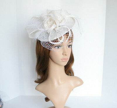 NEW Church Derby Wedding Sinamay & Feather & Veil Fascinator Off-White C-VF651