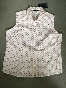 M-amp-S-WHITE-SLEEVELESS-SHIRT-WITH-TINY-PINK-WITH-BLACK-FLOWERS-ALL-OVER-BNWT