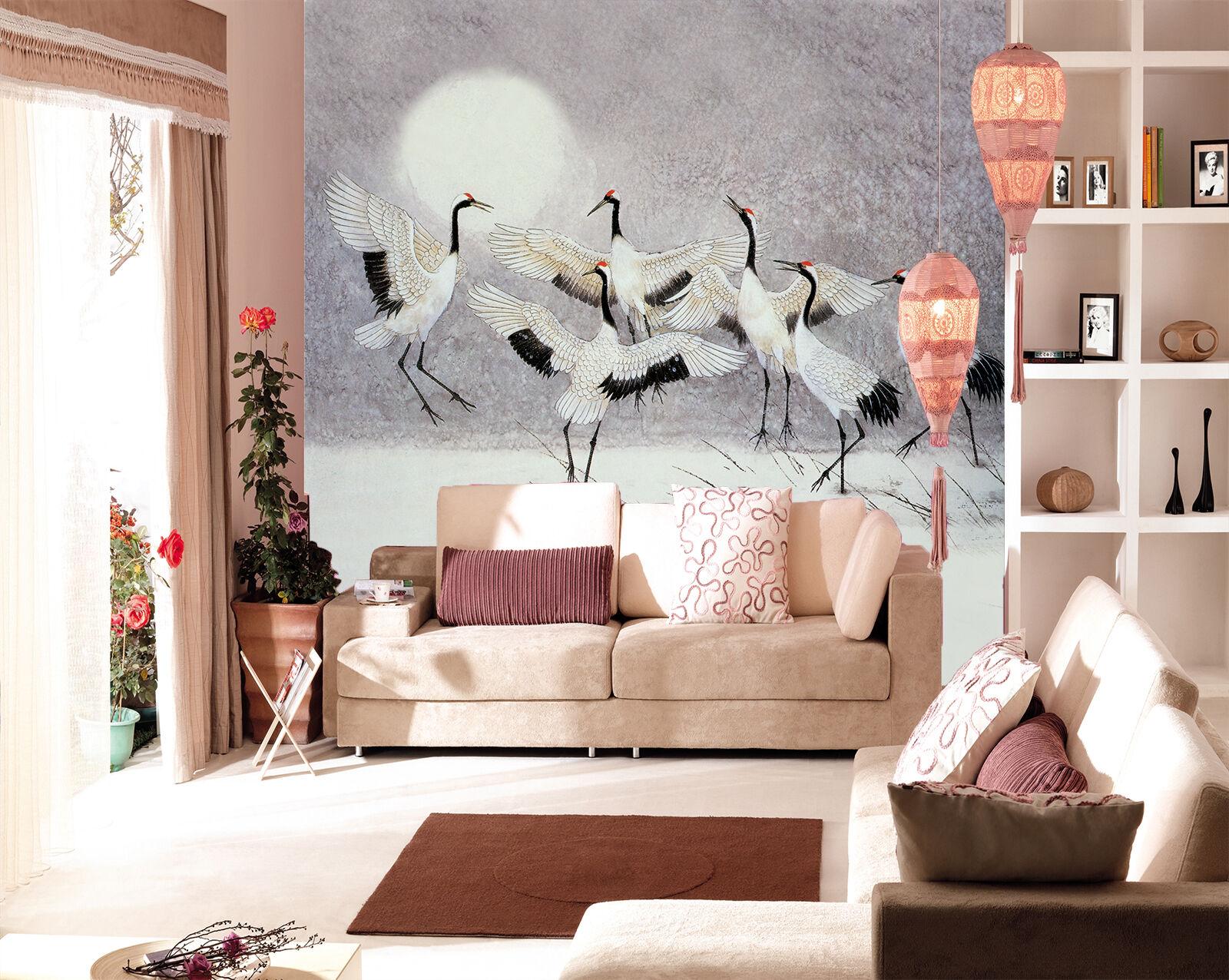 3D Full Moon Cranes 085 Wall Paper Wall Print Decal Wall Deco Wall Indoor Murals