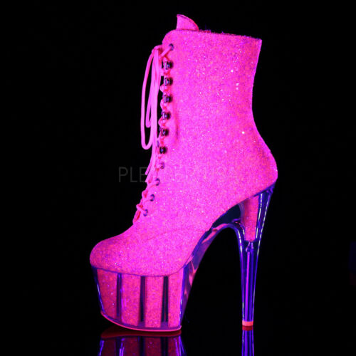 """7/"""" Clear Silver Glitter Stripper Pole Dancer Boots Pleaser Adore Womans Shoes"""