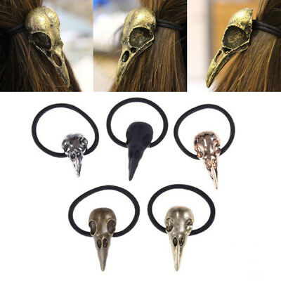 Halloween Silver Bird Skull Hair Tie Plague Doctor Crow Raven Cool elastico