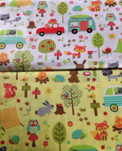 Camp Out White //Yellow fabric Michael Miller material CX6352 squirrel owl rabbit