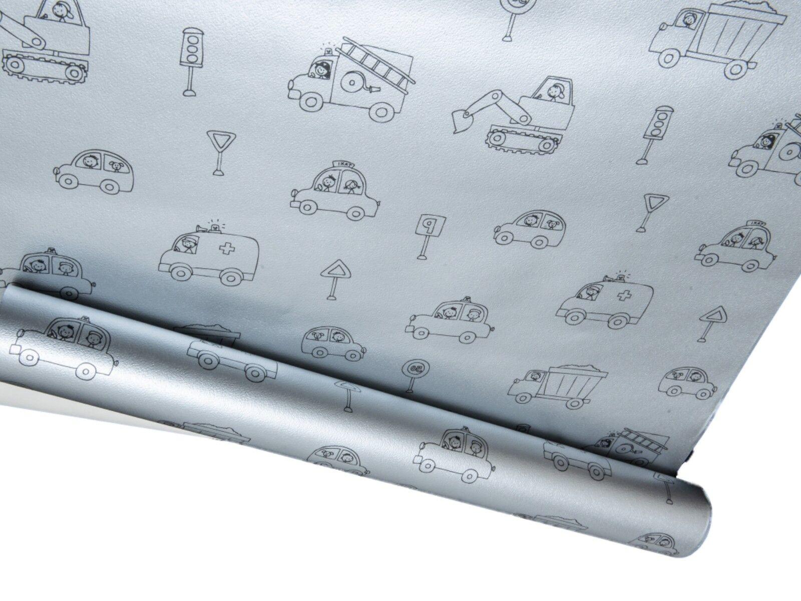 Silver Metallic Shiney Childrens Cartoon Cars Traffic Nursery Wallpaper Grey