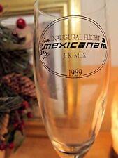 MEXICANA Airlines Inaugural Flight JKF-MEX  l989 Champagne Glasses (2) Blue Stem