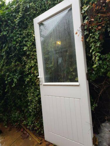 White UPVC Double Glazed Back Door Half Window Good Condition 87 /'/' x 35 /'/' /'£70