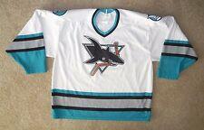 Vtg SAN JOSE SHARKS White NHL HOCKEY JERSEY Sweater Adult Size Men's XL Cool!