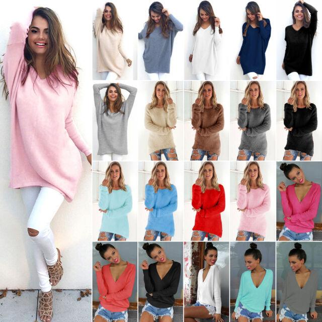 Damenpulli Strickpullover Strick Jumper Langarm Winter Sweater Longshirt Bluse