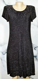 JESSICA HOWARD Stretchy Sparkly Black Dress 12 Short Sleeves Lined Cocktail