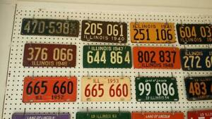 COLLECTION-OF-61-DIFFERENT-ILLINOIS-AUTO-CAR-LICENSE-PLATES
