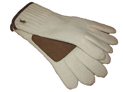 Men/'s $98 M POLO-RALPH LAUREN Brown Suede Leather// Cashmere TOUCH Gloves