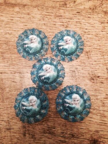 5 x bleu Frozen Elsa 44 mm Dos Plat Résine Bandeaux Cheveux Nœud Centre vente Look