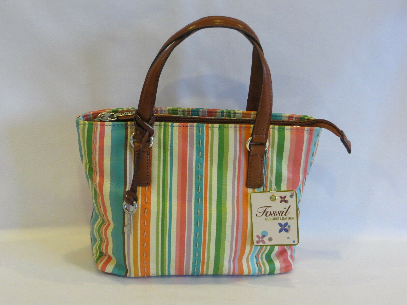 Fossil Vintage Bright Multi Color Striped Leather Double Handles Keely Tote Canvas Norton Secured Powered By Verisign