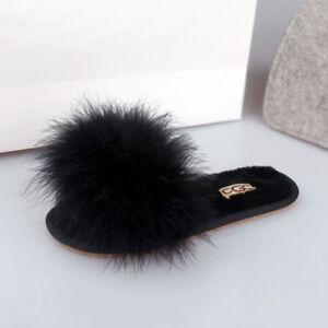 ed6ed4d6faa4ae Genuine Fur Leather Ostrich Flip Flop Slipper Flat Platform Sandal ...