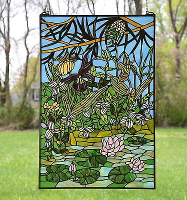 """24"""" x 36"""" Lotus Lily Pond Flower Tiffany Style stained glass window panel"""