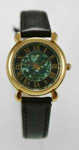 Relic Watch Womens Black Green Stainless Gold Leather Black Water Resist Quartz