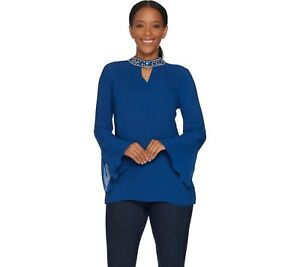 Laurie Felt Women S Bell Sleeve Blouse With Jeweled Collar Navy X