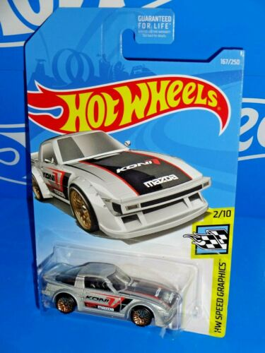 Hot Wheels 2019 HW Speed Graphics #167 Mazda RX-7 Silver w// WSPs KONI