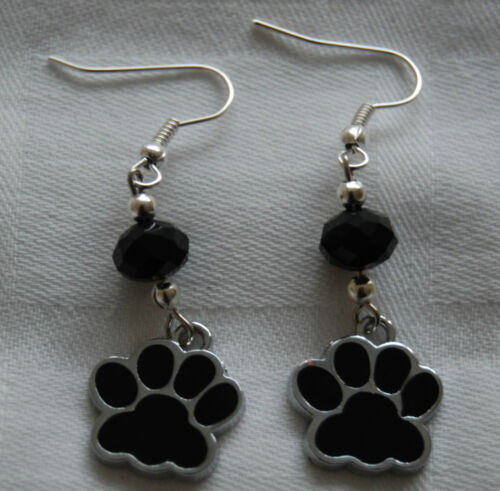 +free stoppers D01 Hand made unique earrings black dog paws and black crystals