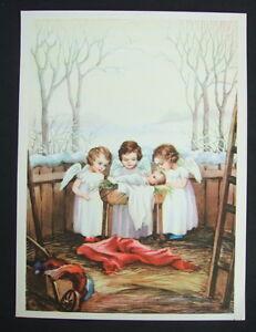 Vintage-Antique-Catholic-Christmas-Print-3-Little-Angels-amp-Baby-Jesus-1940-039-s