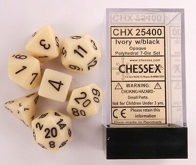 Chessex 7 Dice Set Opaque Black with White CHX 25408 for D/&D /& D20
