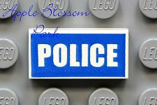 NEW Lego City Minifig POLICE SIGN 1x2 PRINTED TILE - White w/Blue Symbol Print