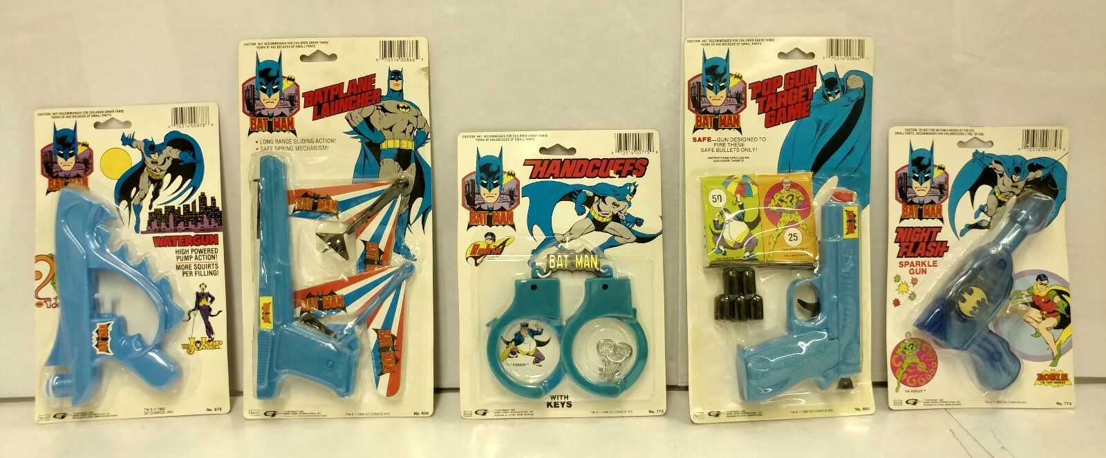 BATMAN 1988 1989 SEALED Batman DC Comics RARE Watergun Handcuffs Sparkle Gun NEW