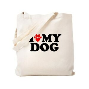 0fa649354c7 Details about CafePress I Heart My Dog Natural Canvas Tote Bag, Cloth  Shopping Bag (150335655)