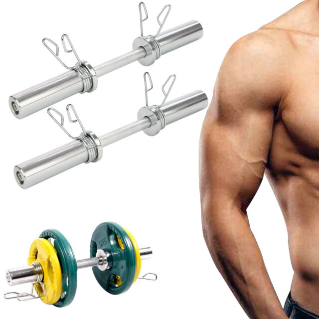 """2/"""" Olympic Dumbbell Bar Set /& Spring Collars Free Weights Weight Lifting Dumbell"""