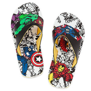 Disney Store Marvel Avengers Flip Flops Sandals Shoes Boy Size 11/12