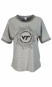 Virginia Tech Hokies Sweatshirt Womens Small Tri-Grey NEW Roll Short Sleeves VT
