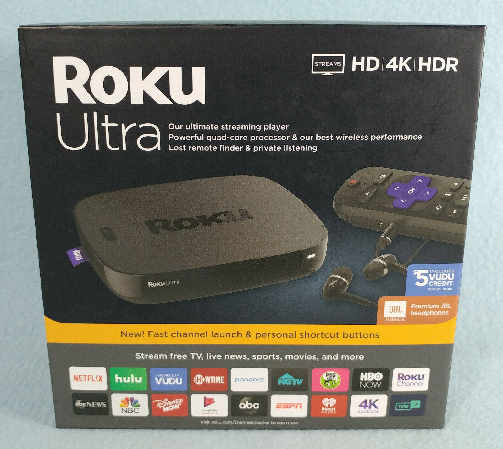 Roku Ultra 4670RW 4K/HD/HDR Streaming Media Player W/Premium JBL Headphones -New 4670rw headphones jbl media player roku streaming ultra