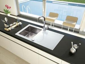 Lavandino Glasspüle Lavello Incasso Cucina Vetro, Acciaio Inox 86 x ...