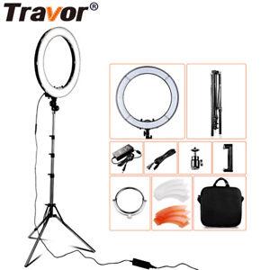 TRAVOR 18'' 55W 5500K Ring 240 LED Video Light Makeup Lighting Kit & 2m Stand UK