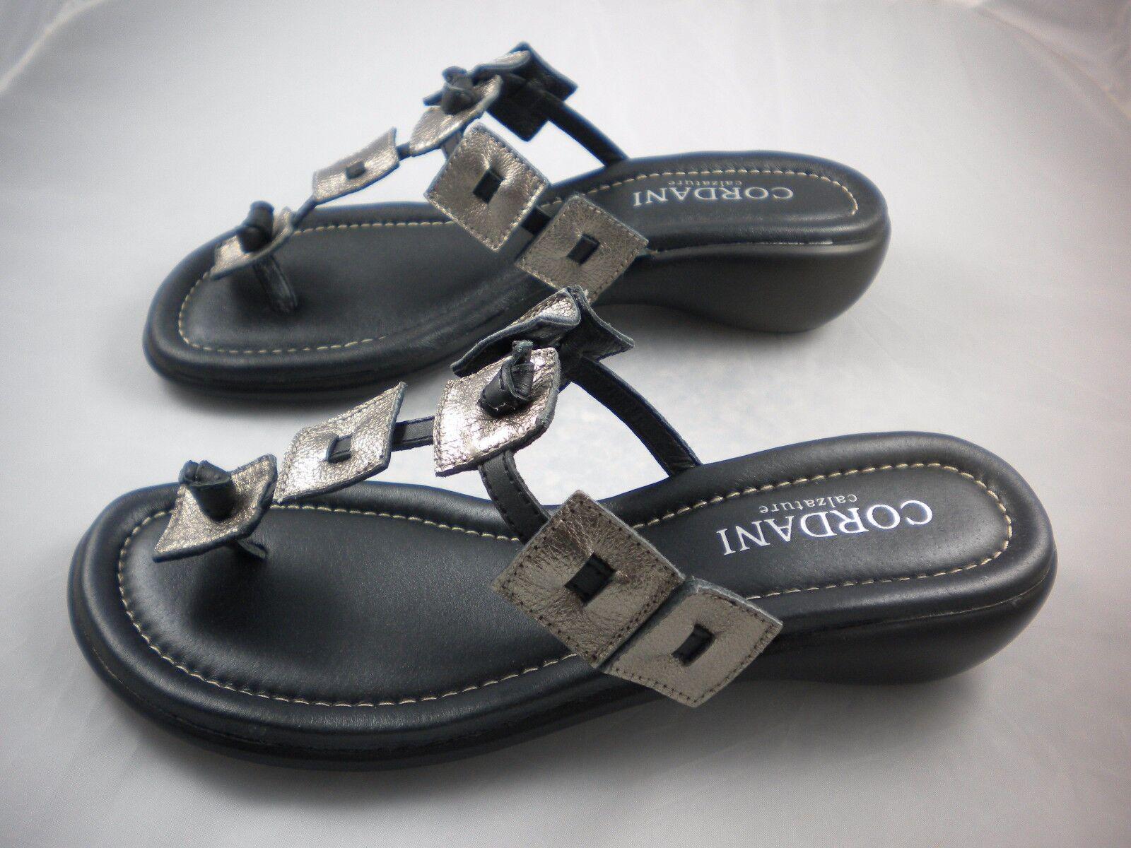 Cordani Paisley Cuadrado De Bronce Plateado Metálico Negro Flip Flop Flop Flop Sandalia de cuña 36 41  el mas de moda