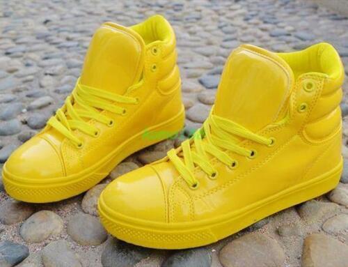 Candy Girls Femme Cuir Verni Bottines Skate Baskets Chaussures De Danse