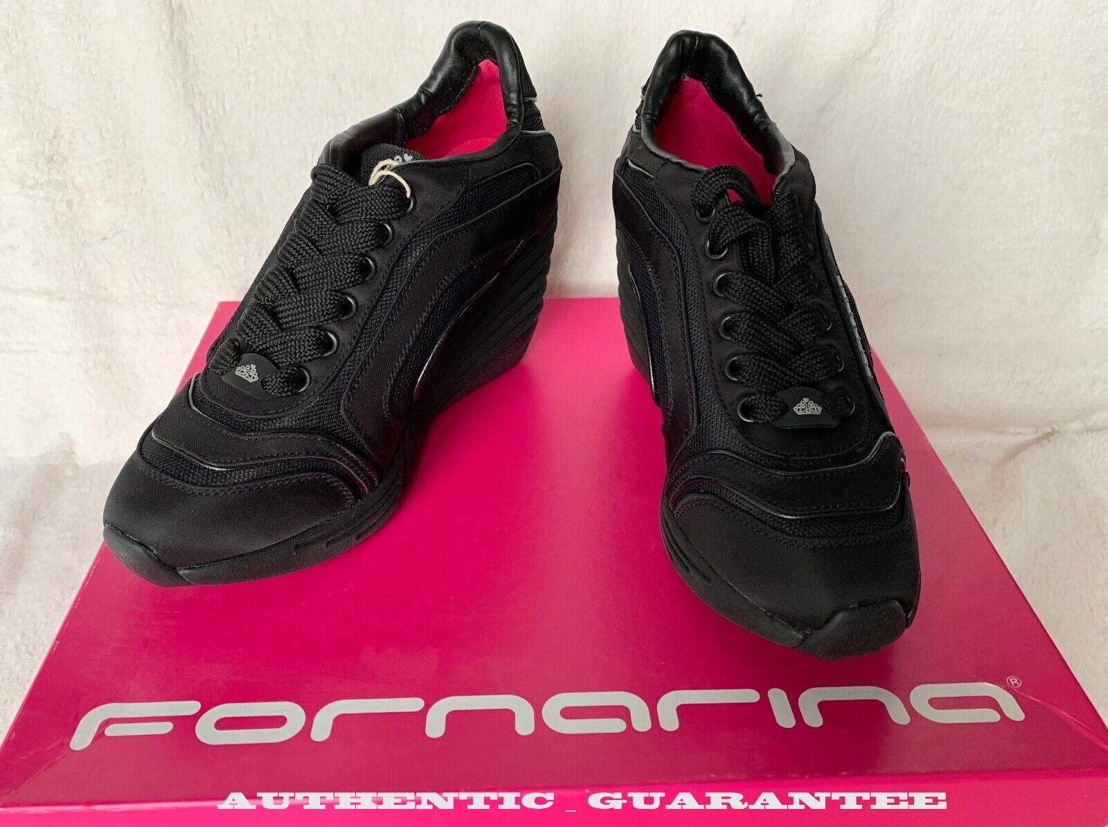 AUTHENTIC FORNARINA nero Wedge scarpe da ginnastica scarpe Dimensione 38 US 8 NEW in Box